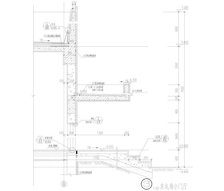 [河北]局部6层框架结构教学楼全套图纸2018-东北角小门厅