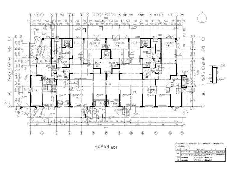 大连科技小镇启动区住宅建筑施工图纸2018-1#楼一层平面图
