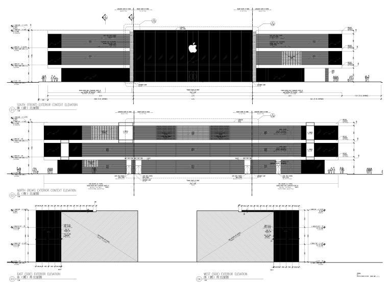 [杭州]西湖苹果直营店改造及装修工程施工图-室外总体立面图