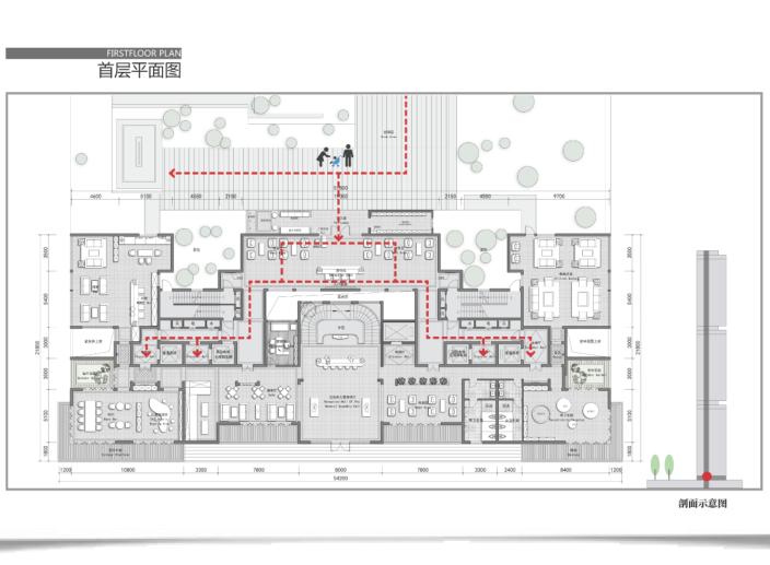 昆明螺蛳湾超高层豪宅投标建筑方案文本2019-首层平面图