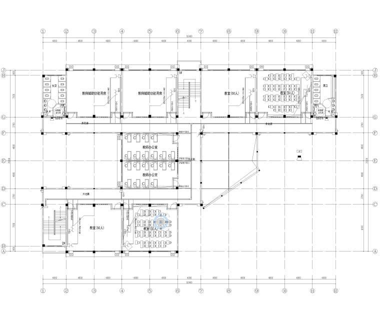 [湖南]5层框架结构中学教学楼全套图纸2018-弱电平面图