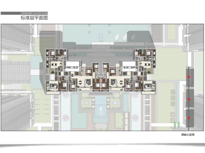 昆明螺蛳湾超高层豪宅投标建筑方案文本2019-标准层平面图