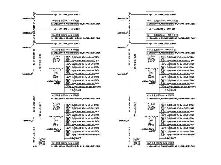 中铁_十六层办公楼电气施工图(2020.6)-4配电箱系统图