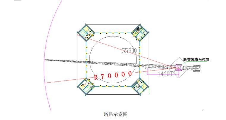高层综合服务中心钢结构吊装施工专项方案-03 塔吊示意图