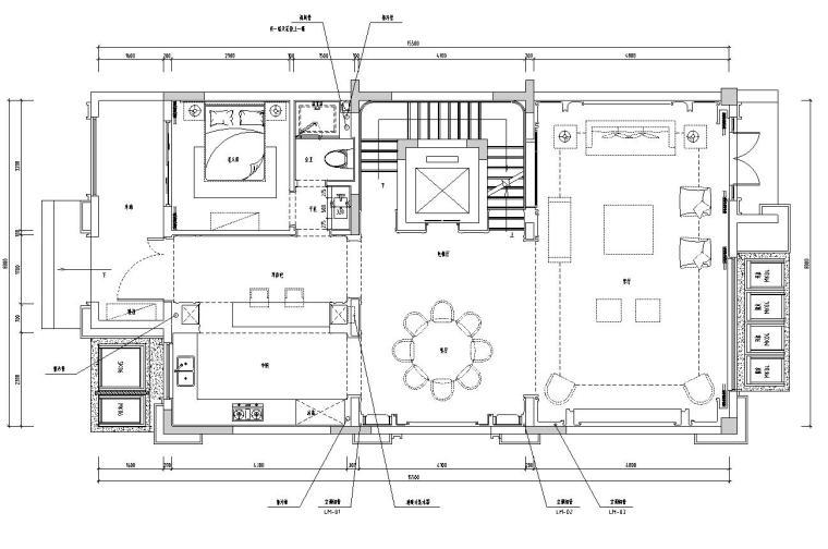 帝凯室内设计-重庆金辉城样板房方案施工图-01 一层平面布置图
