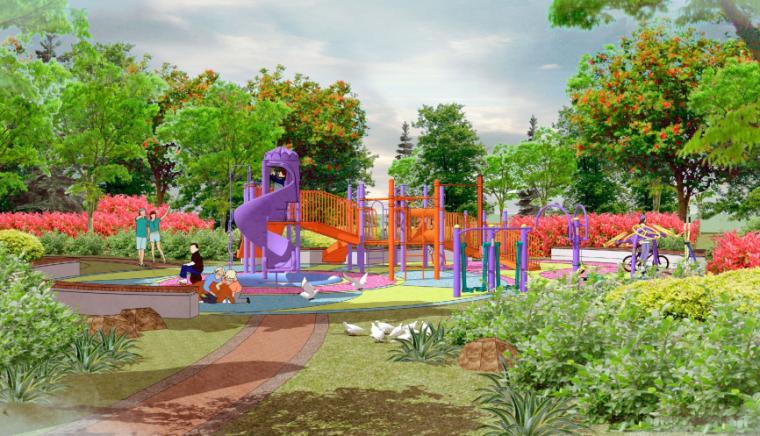 [山东]东营地中海风情社区花园景观方案-儿童活动区效果图