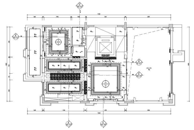 帝凯室内设计-重庆金辉城样板房方案施工图-一层天花开线图