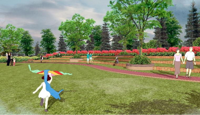 [山东]东营地中海风情社区花园景观方案-阳光草坪效果图