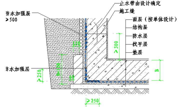 自粘聚合物改性沥青防水卷材施工工艺-底板侧墙转角防水构造