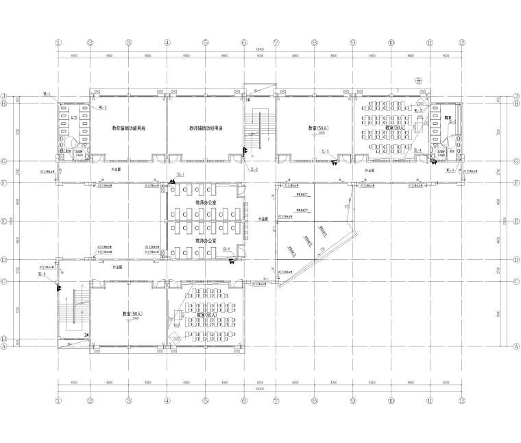 [湖南]5层框架结构中学教学楼全套图纸2018-给排水平面图