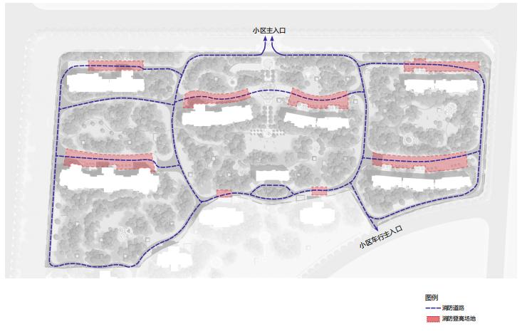 [山东]东营地中海风情社区花园景观方案-消防流线分析