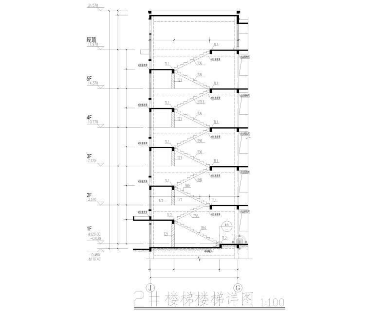 [湖南]5层框架结构中学教学楼全套图纸2018-楼梯详图