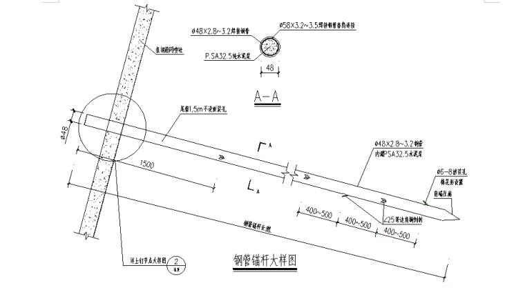 基坑支护及土方开挖安全专项施工方案-03 钢管锚杆大样图