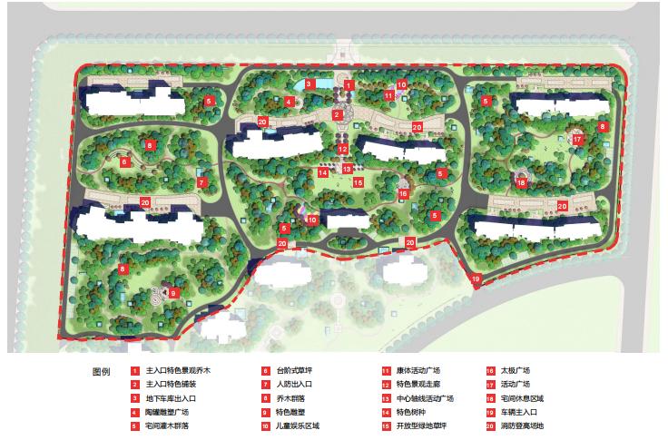 [山东]东营地中海风情社区花园景观方案-景观总平面图