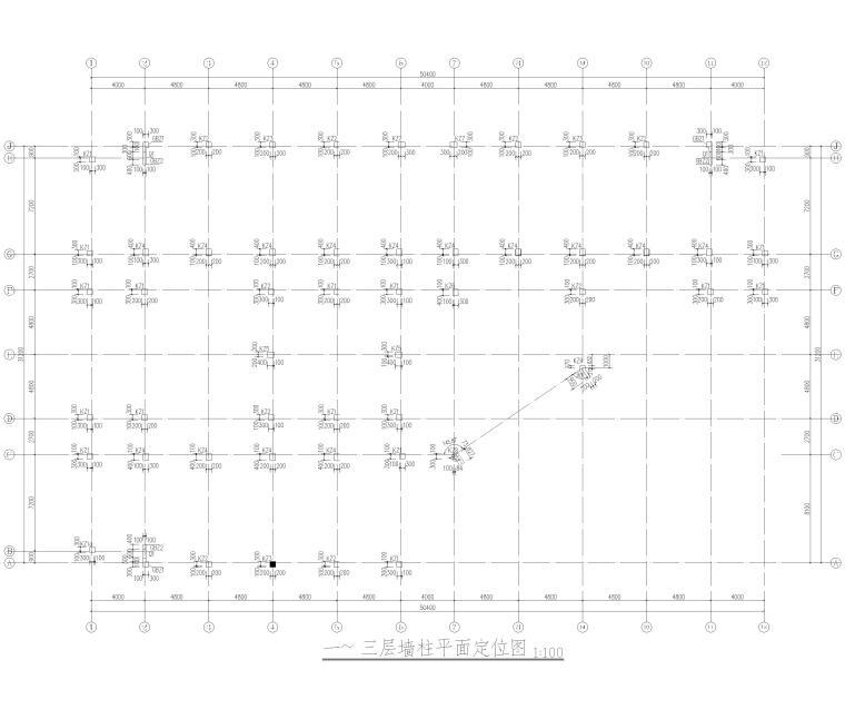 [湖南]5层框架结构中学教学楼全套图纸2018-墙柱平面定位图