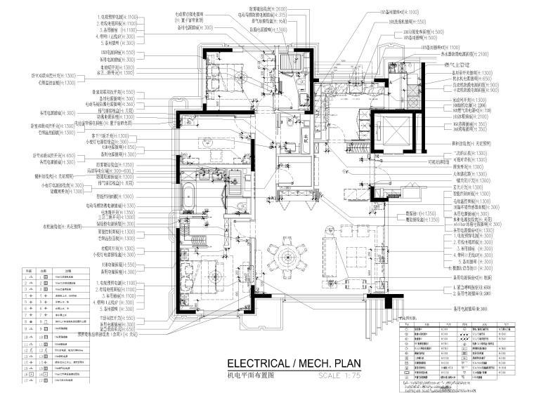 [北京]175㎡新中式二居室家装样板间施工图-机电平面布置图