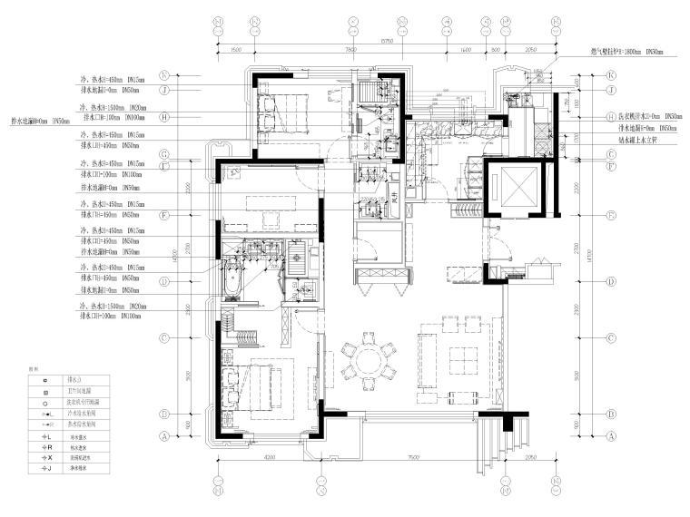[北京]175㎡新中式二居室家装样板间施工图-给排水点位平面布置图