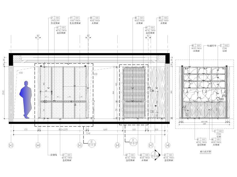 [北京]175㎡新中式二居室家装样板间施工图-客厅立面图