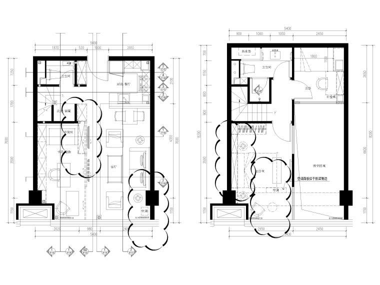 [北京]79㎡二居LOFT公寓样板间装修施工图-一层,二层平面布置图