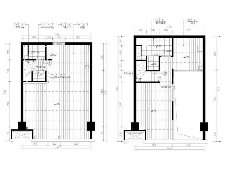 [北京]79㎡二居LOFT公寓样板间装修施工图-一层,二层地面铺装图