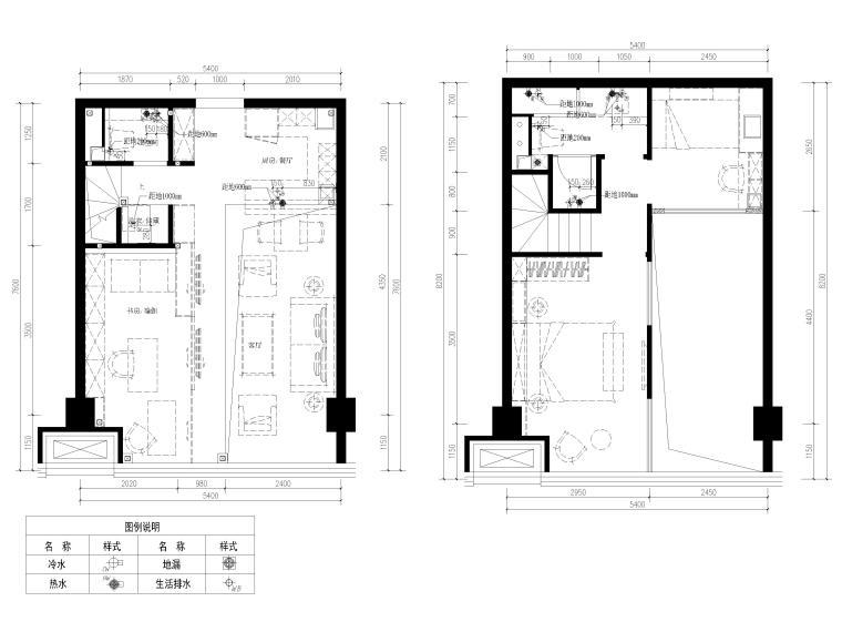 [北京]79㎡二居LOFT公寓样板间装修施工图-一层,二层给排水布置图