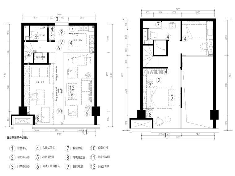 [北京]79㎡二居LOFT公寓样板间装修施工图-一层,二层智能家居点位示意图