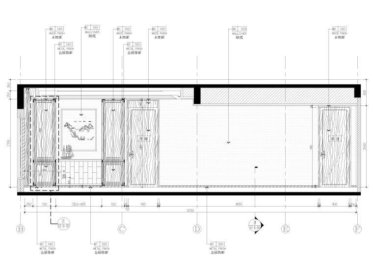 [北京]175㎡新中式二居室家装样板间施工图-样板间立面图