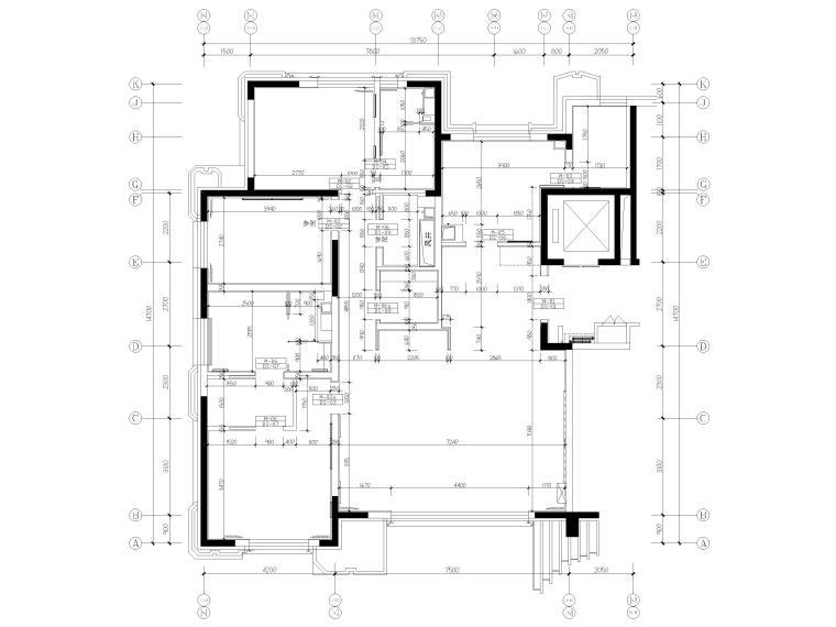 [北京]175㎡新中式二居室家装样板间施工图-隔墙尺寸图