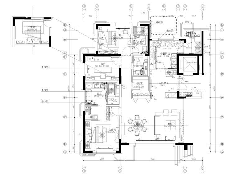 [北京]175㎡新中式二居室家装样板间施工图-平面布置图