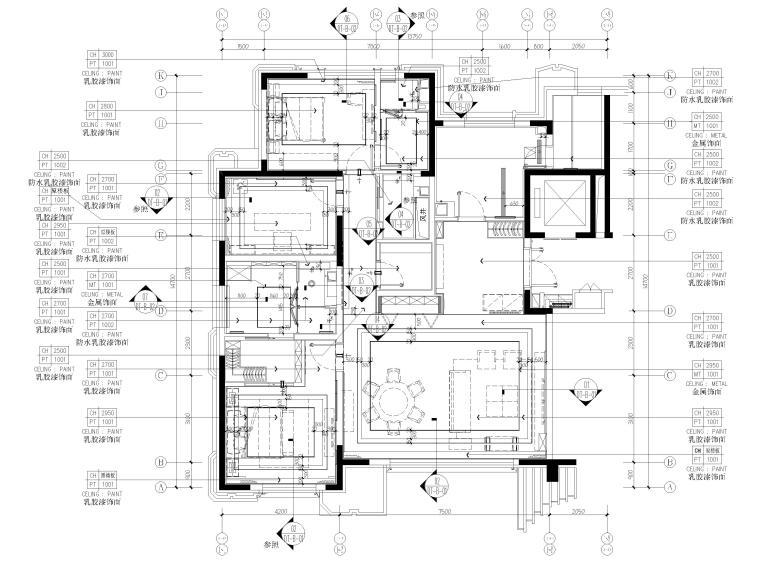 [北京]175㎡新中式二居室家装样板间施工图-天花布置图