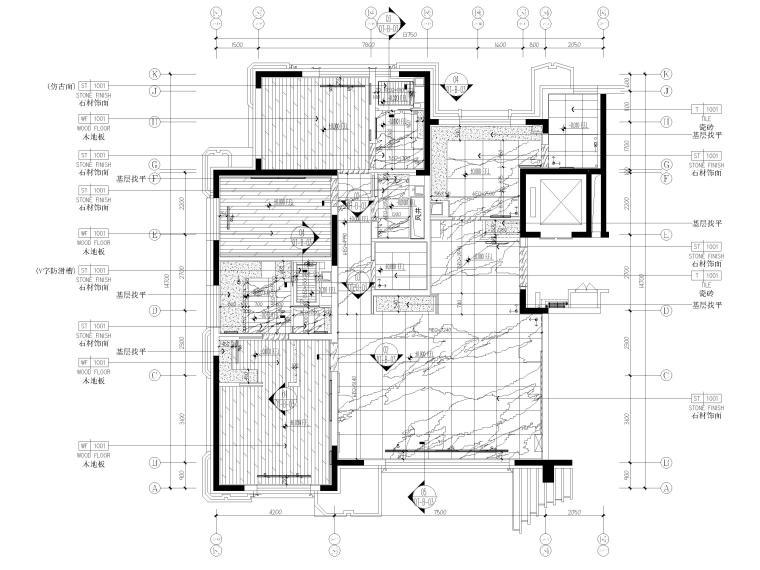 [北京]175㎡新中式二居室家装样板间施工图-地面铺装图