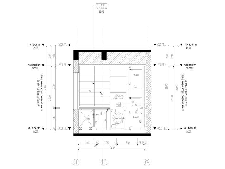 [北京]175㎡新中式二居室家装样板间施工图-样板间立面图5
