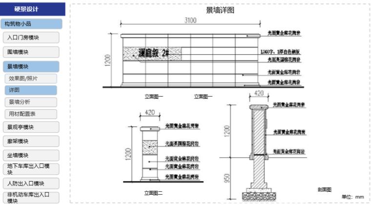 房地产公司住宅产品标准手册(景观篇)-景墙详图