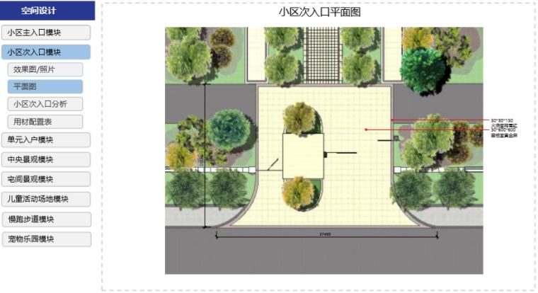 房地产公司住宅产品标准手册(景观篇)-小区次入口平面图