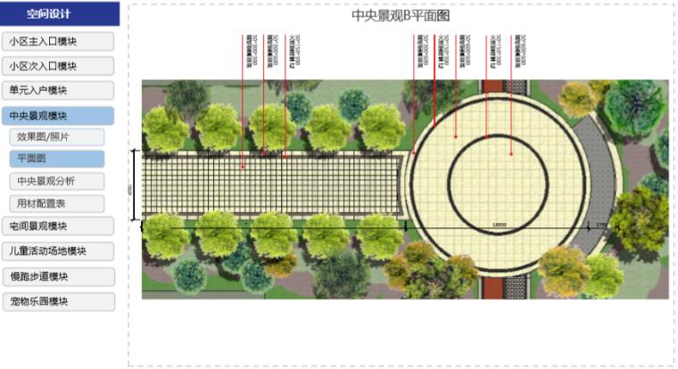 房地产公司住宅产品标准手册(景观篇)-中央景观B平面图