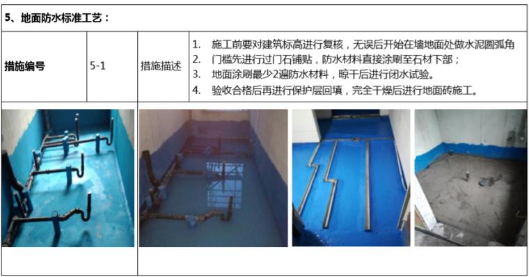 房地产公司成品房质量控制手册(118页)-地面防水标准工艺