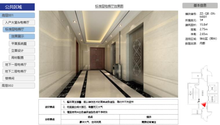 房地产公司住宅产品标准手册(室内篇)-标准层电梯厅效果图