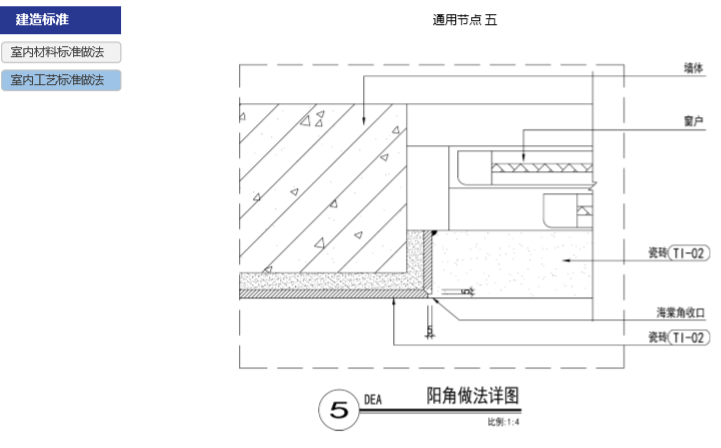 房地产公司住宅产品标准手册(室内篇)-阳角做法详图