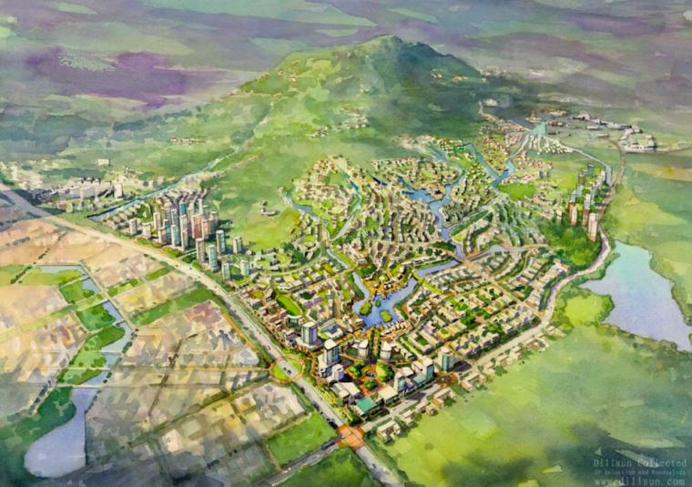 [山东]青岛小珠山城市片区景观设计方案-鸟瞰图