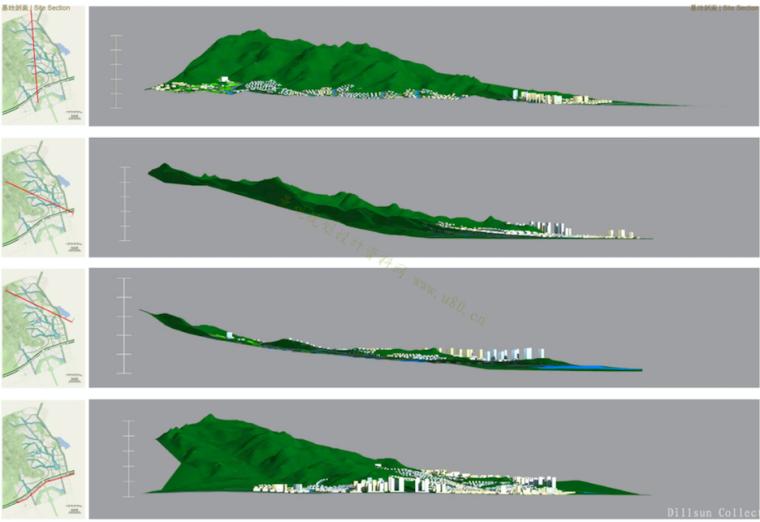 [山东]青岛小珠山城市片区景观设计方案-基地剖面图