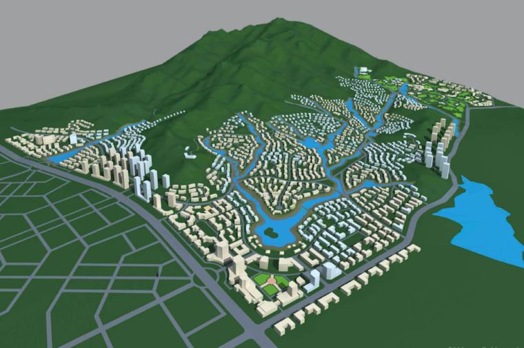 [山东]青岛小珠山城市片区景观设计方案-建筑模型图