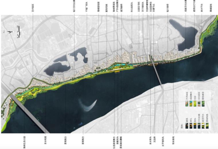 [江西]抚州历史文化街区滨河景观设计方案-总体平面图