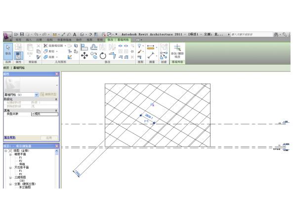 Revit软件技巧1.3.2巧移斜向幕墙网格-临时尺寸