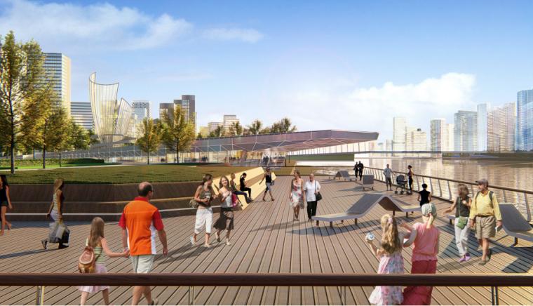 [山东]青岛海洋活力滨海广场绿地景观设计-阳光甲板效果图
