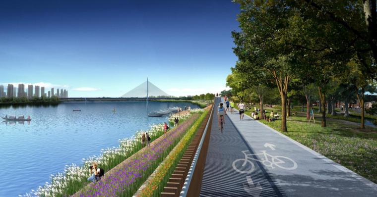 [江西]抚州历史文化街区滨河景观设计方案-堤顶自行车廊道设计效果图