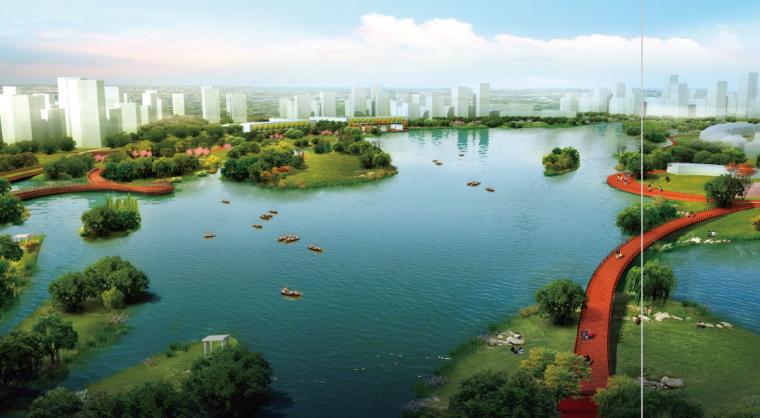 [江苏]南通经济技术开发区景观飘带设计方案-滨水景观效果图