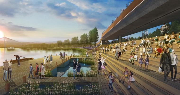 [江西]抚州历史文化街区滨河景观设计方案-景观平台+游船码头设计效果图