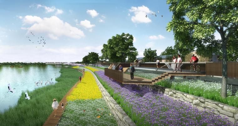 [江西]抚州历史文化街区滨河景观设计方案-景观挑台设计效果图