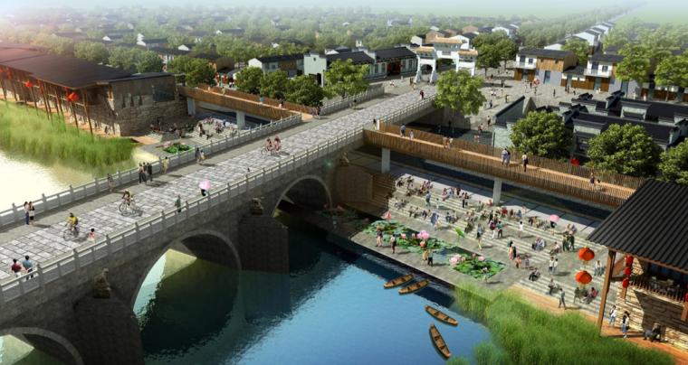 [江西]抚州历史文化街区滨河景观设计方案-亲水埠头+文昌桥设计效果图