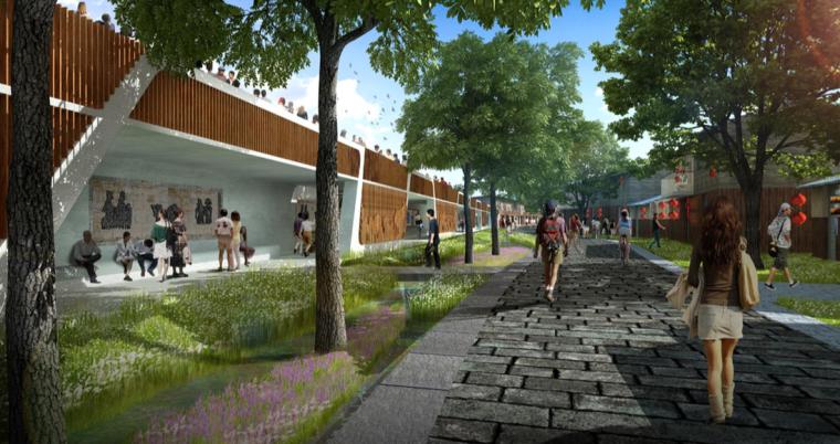 [江西]抚州历史文化街区滨河景观设计方案-戏曲文化长廊设计效果图